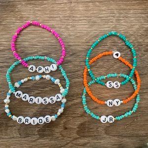 Bubble letter bead personalized bracelets